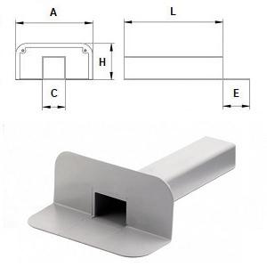 Угловая воронка парапетная ПВХ (∅100х100 мм, L=375 мм, угол фланца 90°, высота фланца 168 мм)