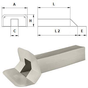 Воронка парапетна ПВХ (∅100х100 мм, L = 375 мм, кут фланця 45 °, висота фланця 168 мм)