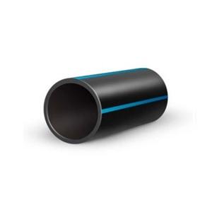 Водопроводная ПНД труба ПЭ 110 ∅, S=8.1, PN10, SDR 13.6, черная с синей полосой (пищевая) – ПЭ 80